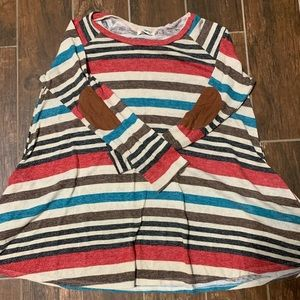 Striped tunic sweater with elbow patch.